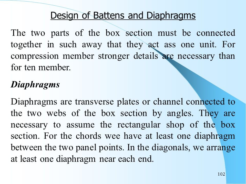Design of Battens and Diaphragms