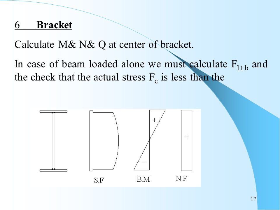 6 Bracket Calculate M& N& Q at center of bracket.