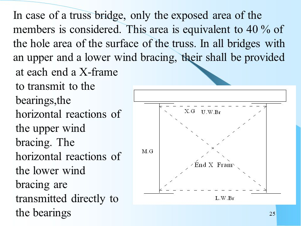 In case of a truss bridge, only the exposed area of the members is considered. This area is equivalent to 40 % of the hole area of the surface of the truss. In all bridges with an upper and a lower wind bracing, their shall be provided