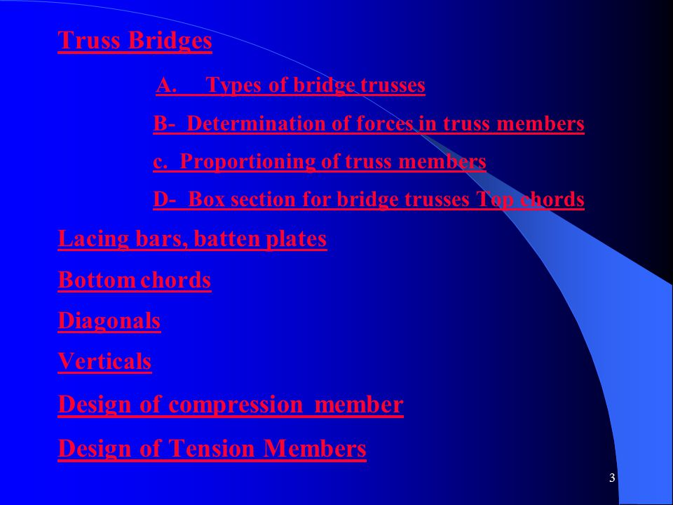 A. Types of bridge trusses