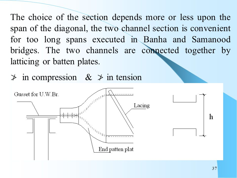 The choice of the section depends more or less upon the span of the diagonal, the two channel section is convenient for too long spans executed in Banha and Samanood bridges. The two channels are connected together by latticing or batten plates.