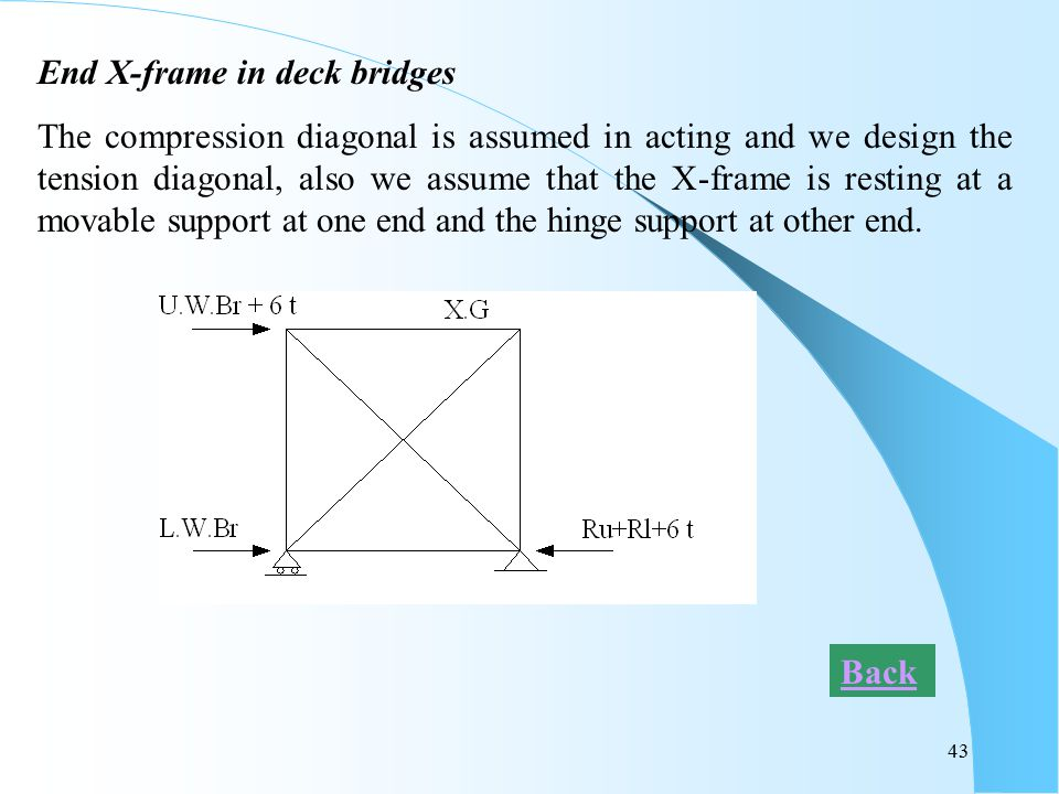 End X-frame in deck bridges