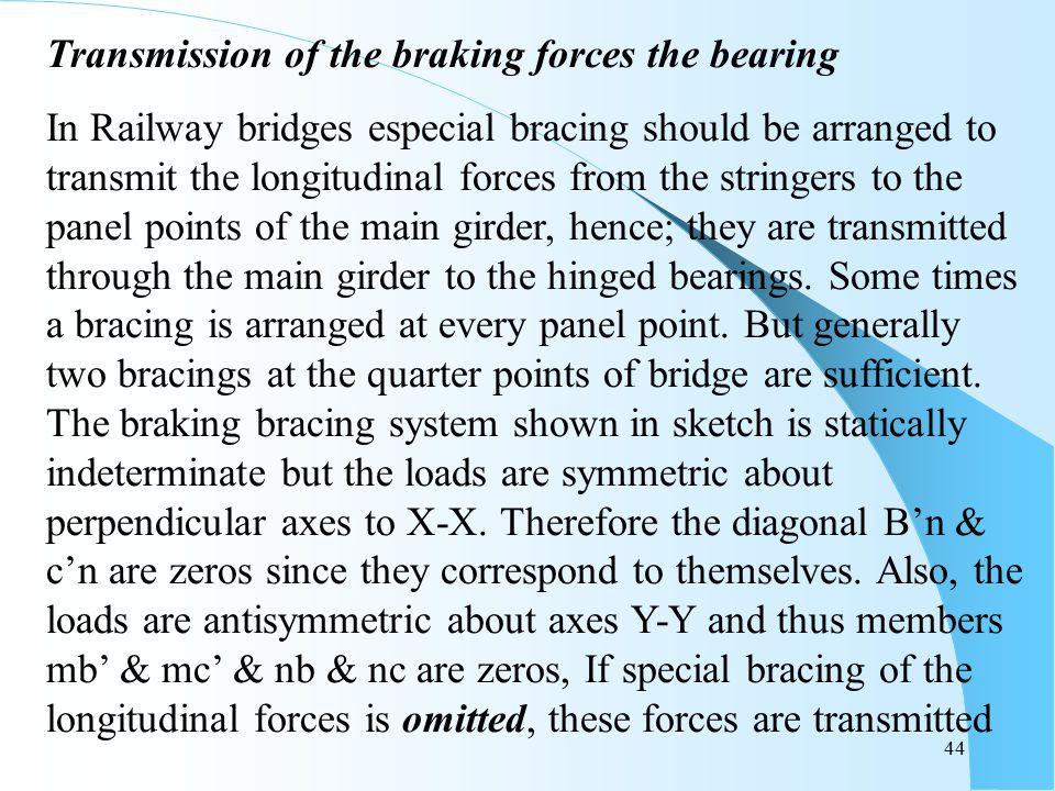 Transmission of the braking forces the bearing