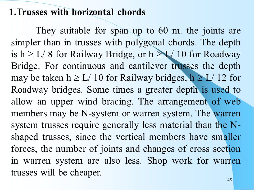 1.Trusses with horizontal chords