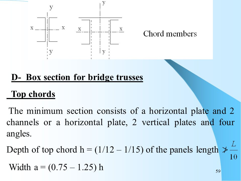 D- Box section for bridge trusses