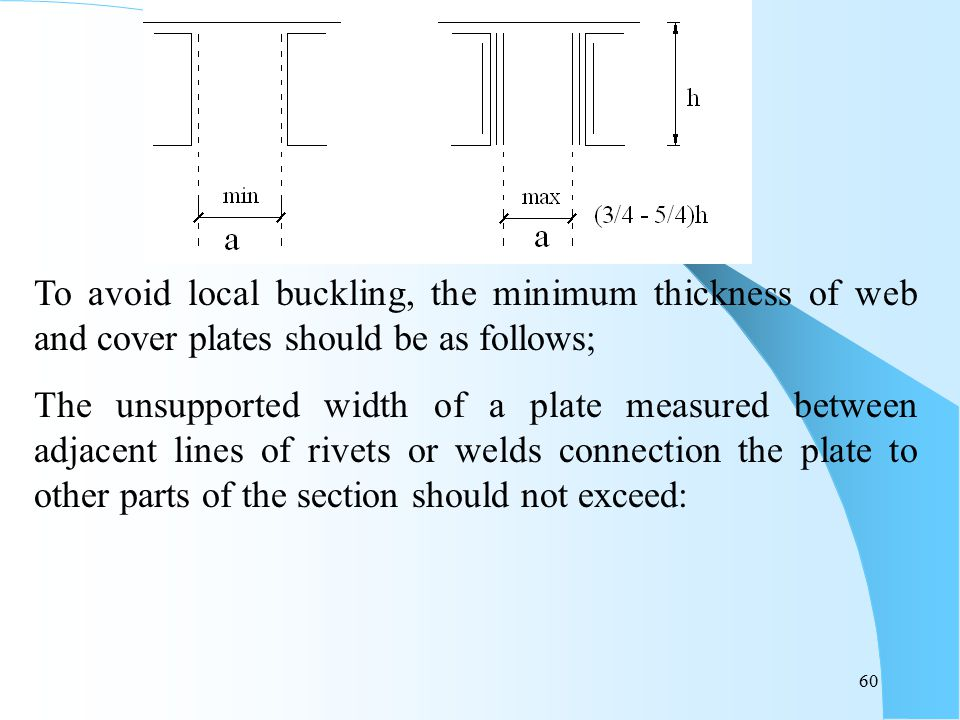 To avoid local buckling, the minimum thickness of web and cover plates should be as follows;