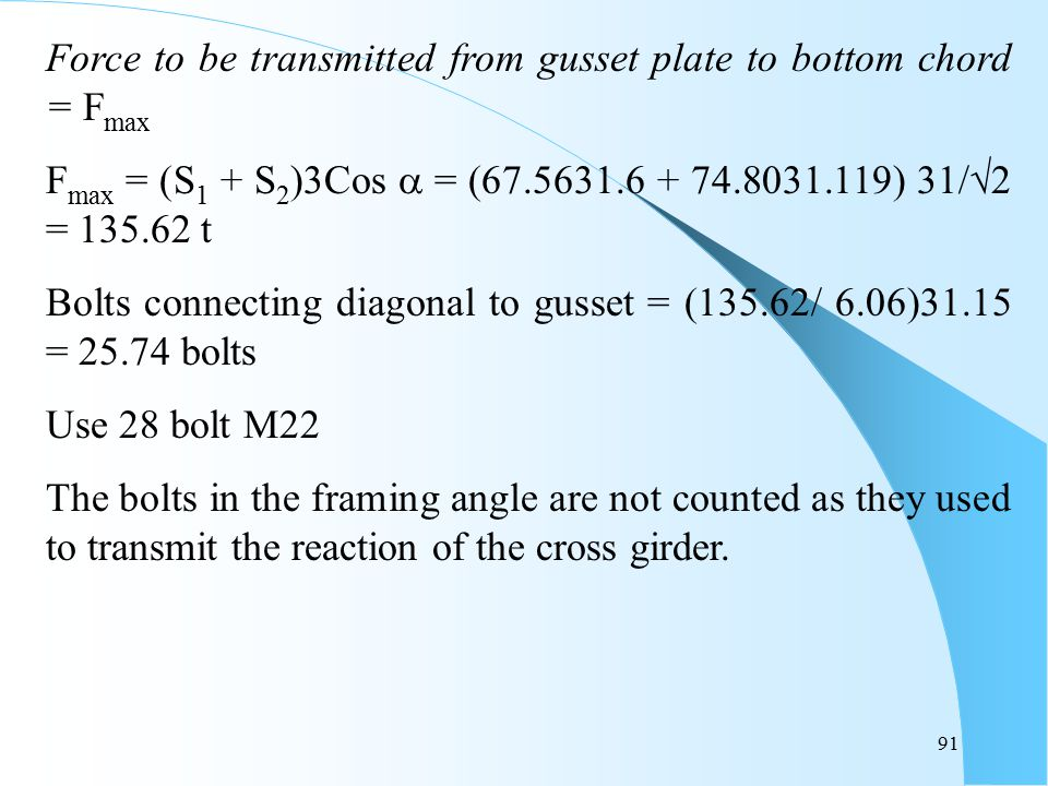 Force to be transmitted from gusset plate to bottom chord = Fmax