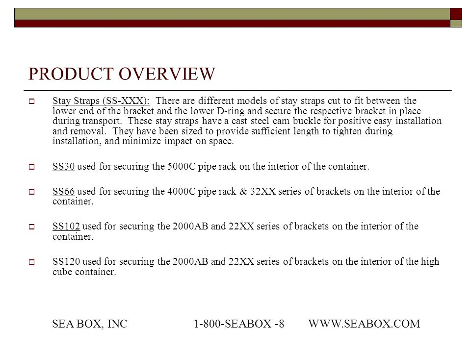 PRODUCT OVERVIEW SEA BOX, INC 1-800-SEABOX -8 WWW.SEABOX.COM