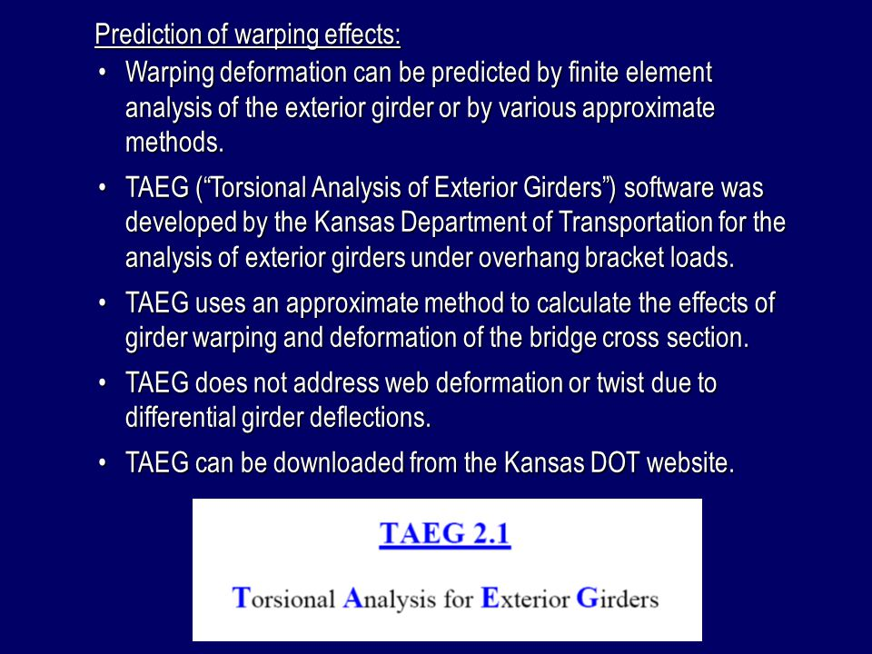 Prediction of warping effects: