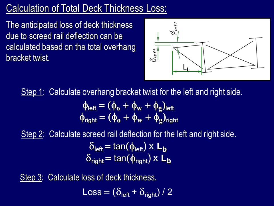 Calculation of Total Deck Thickness Loss: