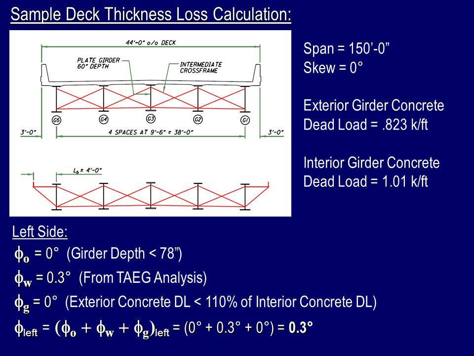 Sample Deck Thickness Loss Calculation:
