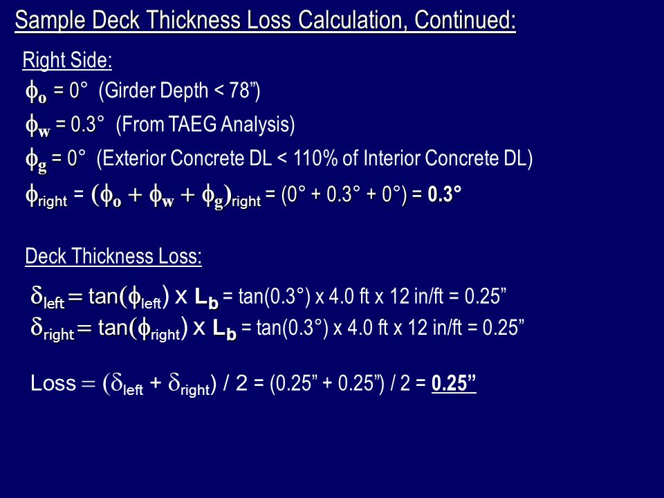 Sample Deck Thickness Loss Calculation, Continued: