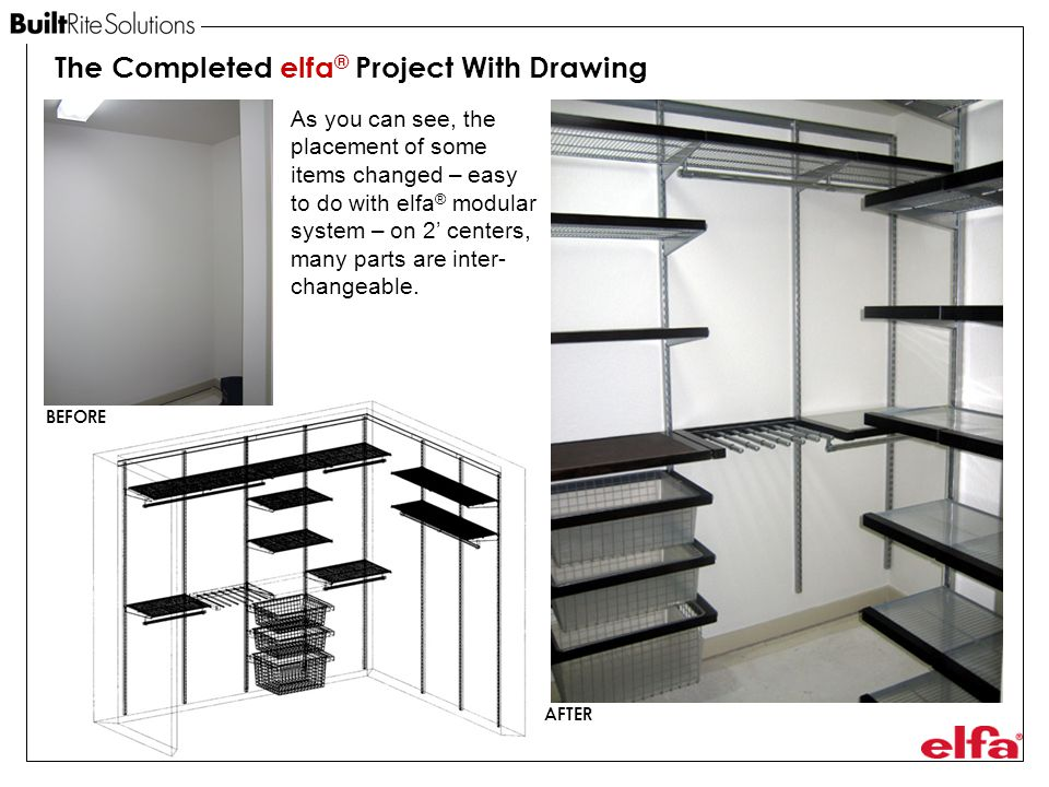 The Completed elfa® Project With Drawing