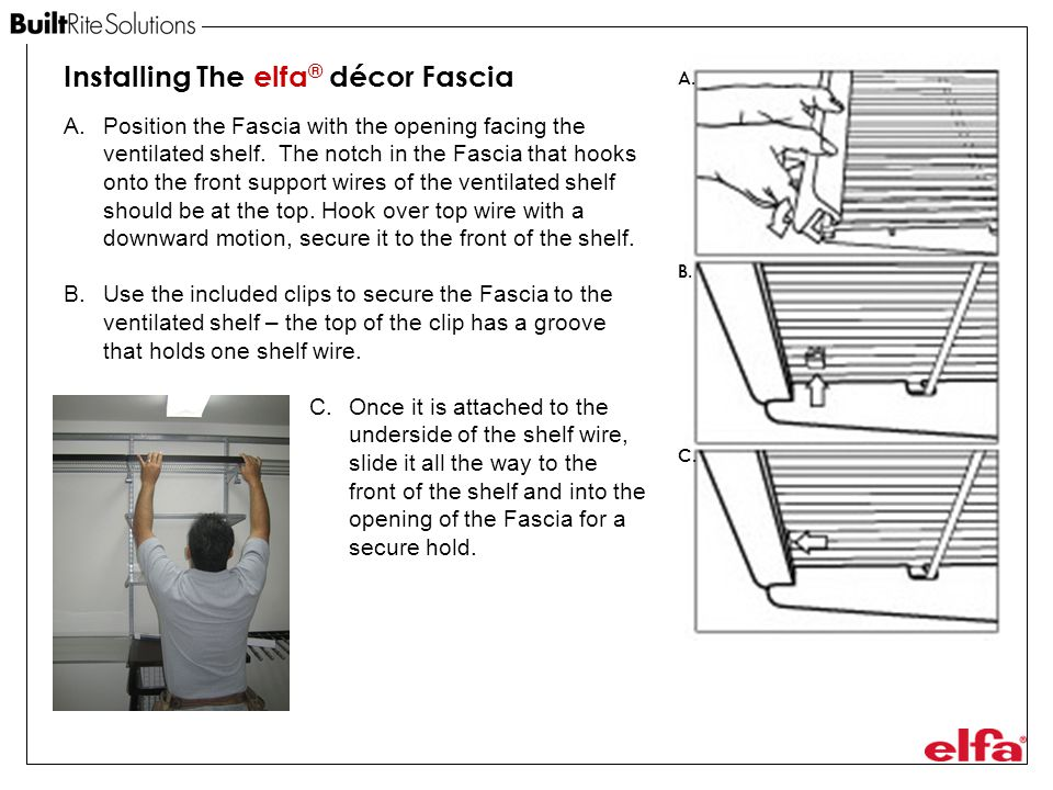 Installing The elfa® décor Fascia