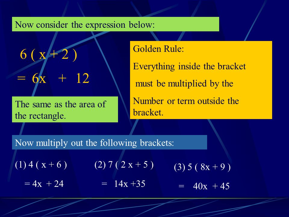 6 ( x + 2 ) = 6x + 12 Now consider the expression below: Golden Rule: