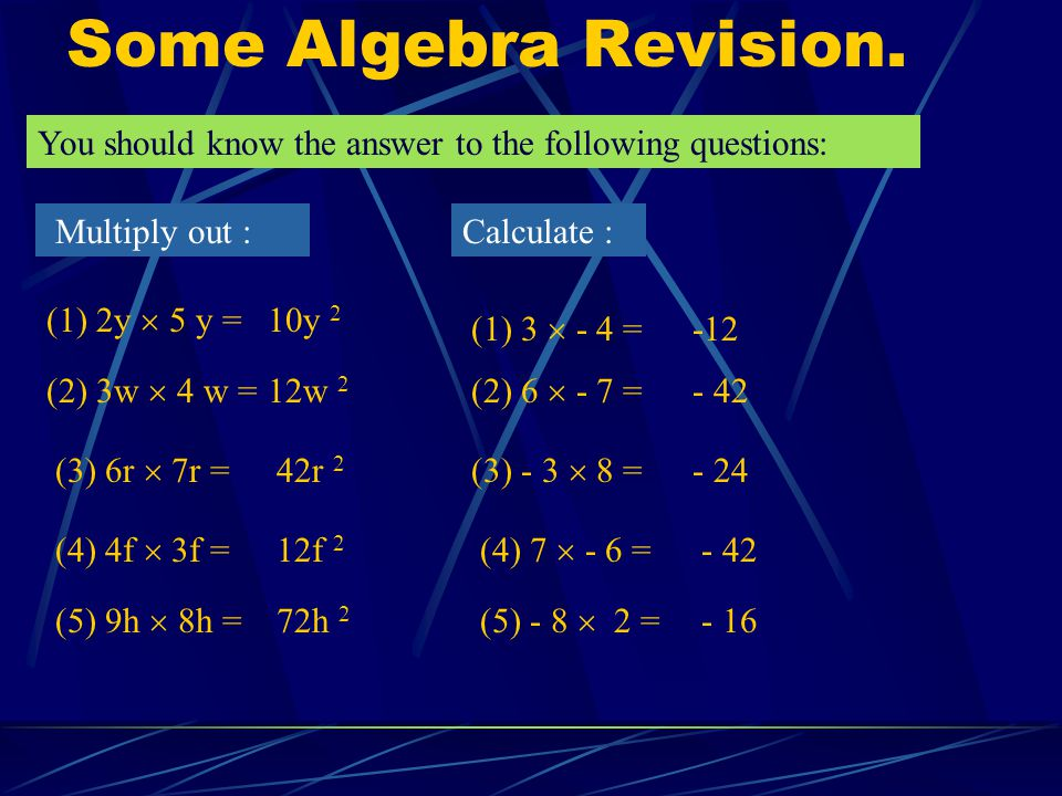 Some Algebra Revision. You should know the answer to the following questions: Multiply out : Calculate :