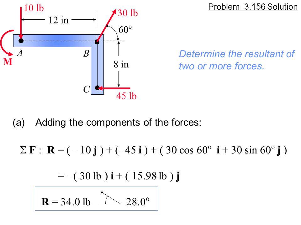 S F : R = ( _ 10 j ) + (_ 45 i ) + ( 30 cos 60o i + 30 sin 60o j )