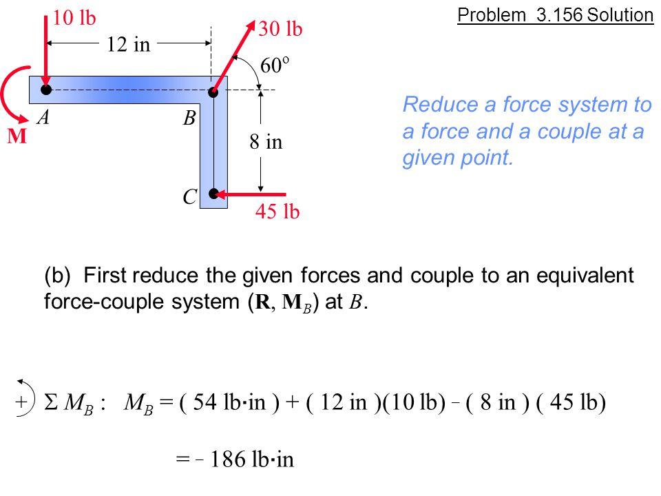 S MB : MB = ( 54 lb.in ) + ( 12 in )(10 lb) _ ( 8 in ) ( 45 lb)