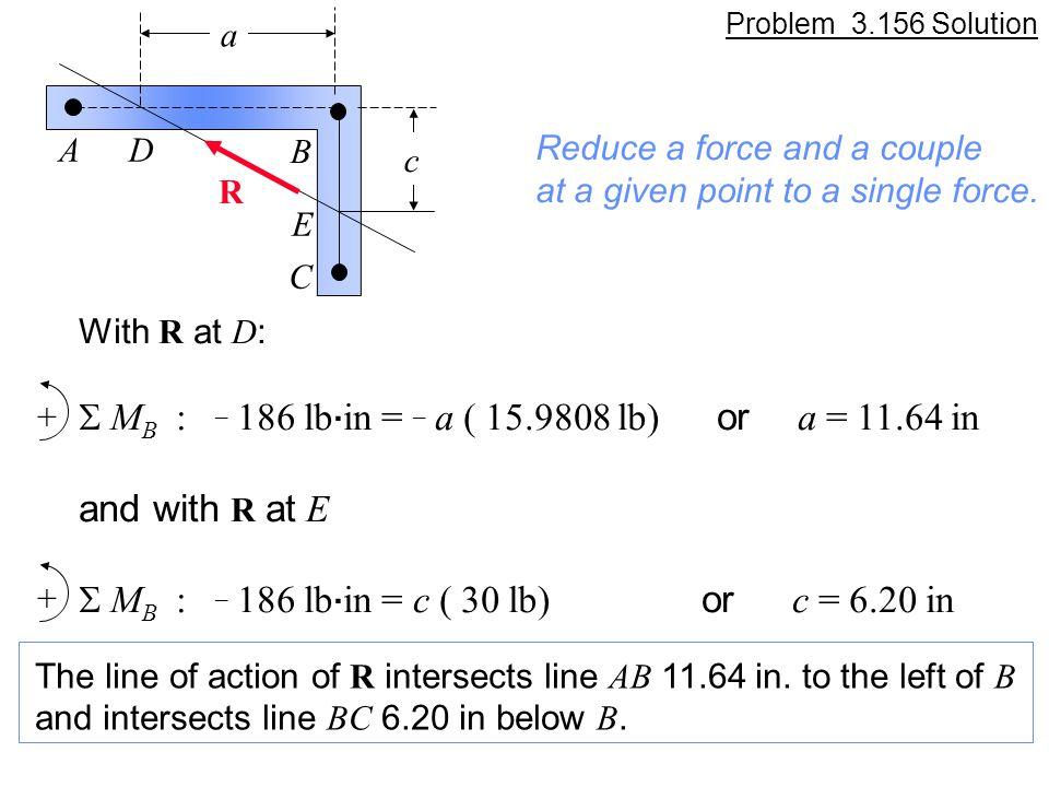 S MB : _ 186 lb.in = _ a ( 15.9808 lb) or a = 11.64 in and with R at E
