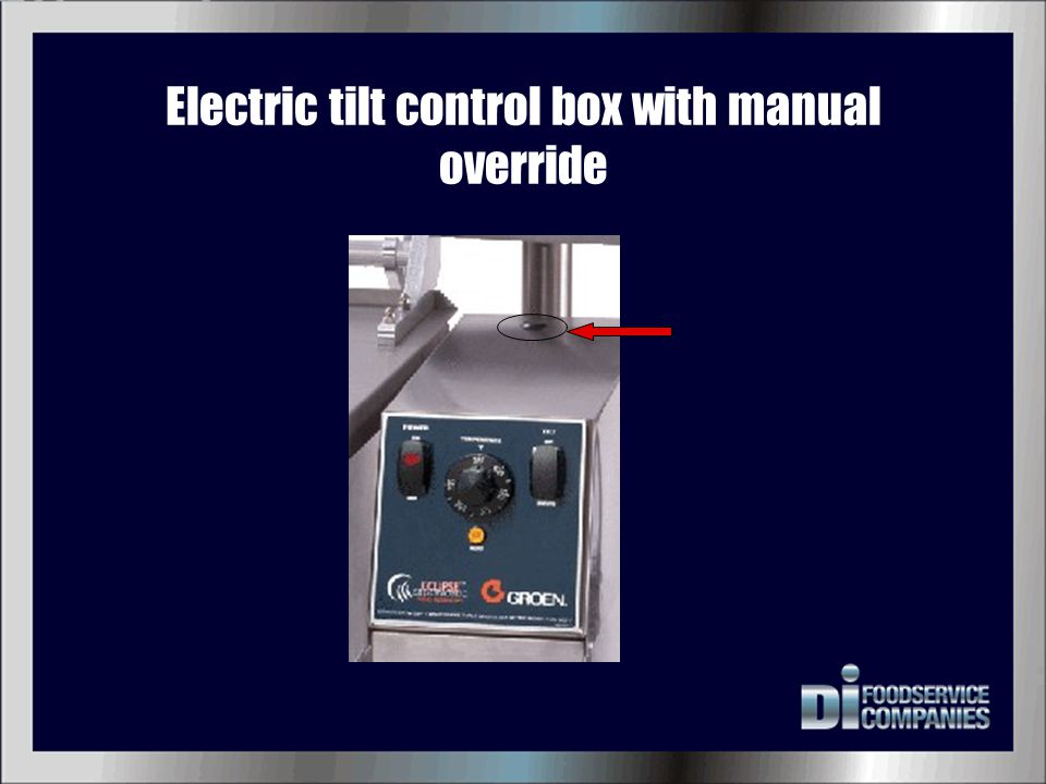 Electric tilt control box with manual override