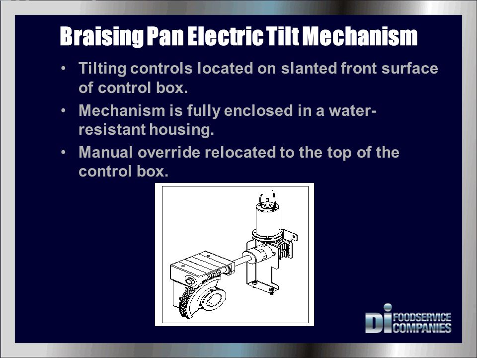 Braising Pan Electric Tilt Mechanism