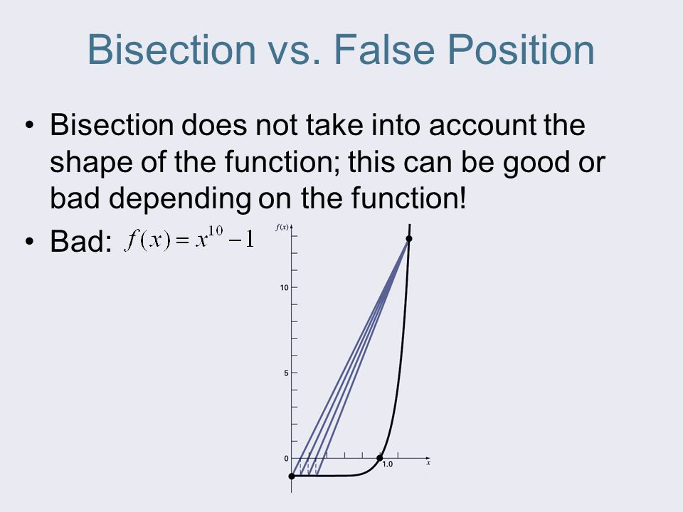false position method and bisection Here we will find a root of an equation by mathematica applicationlike bisection  method the false position method starts with two points a and.