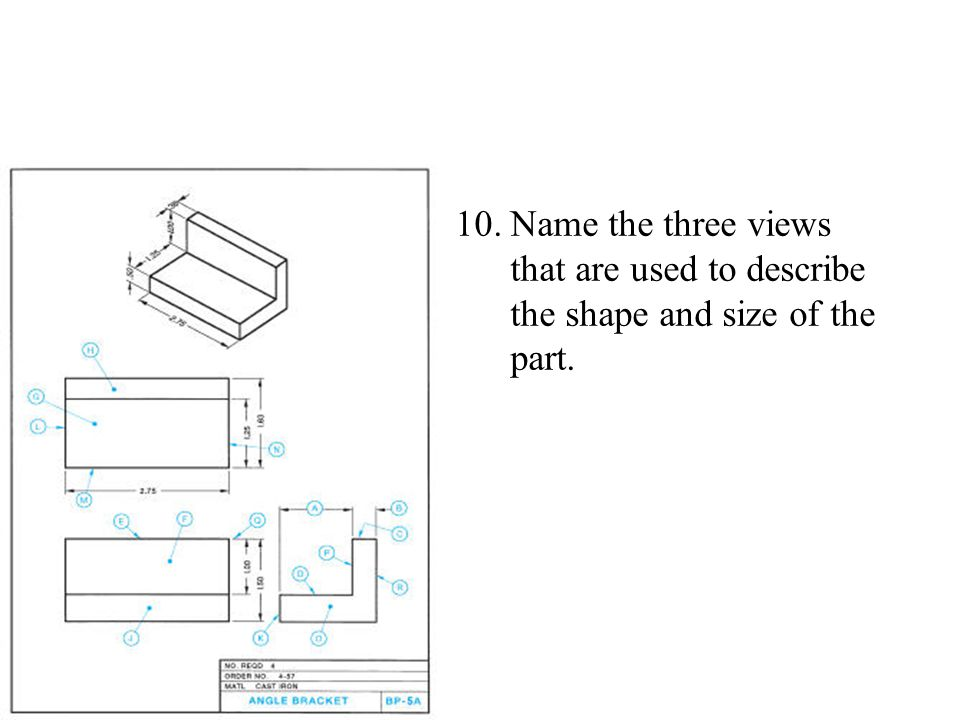 Name the three views that are used to describe the shape and size of the part.