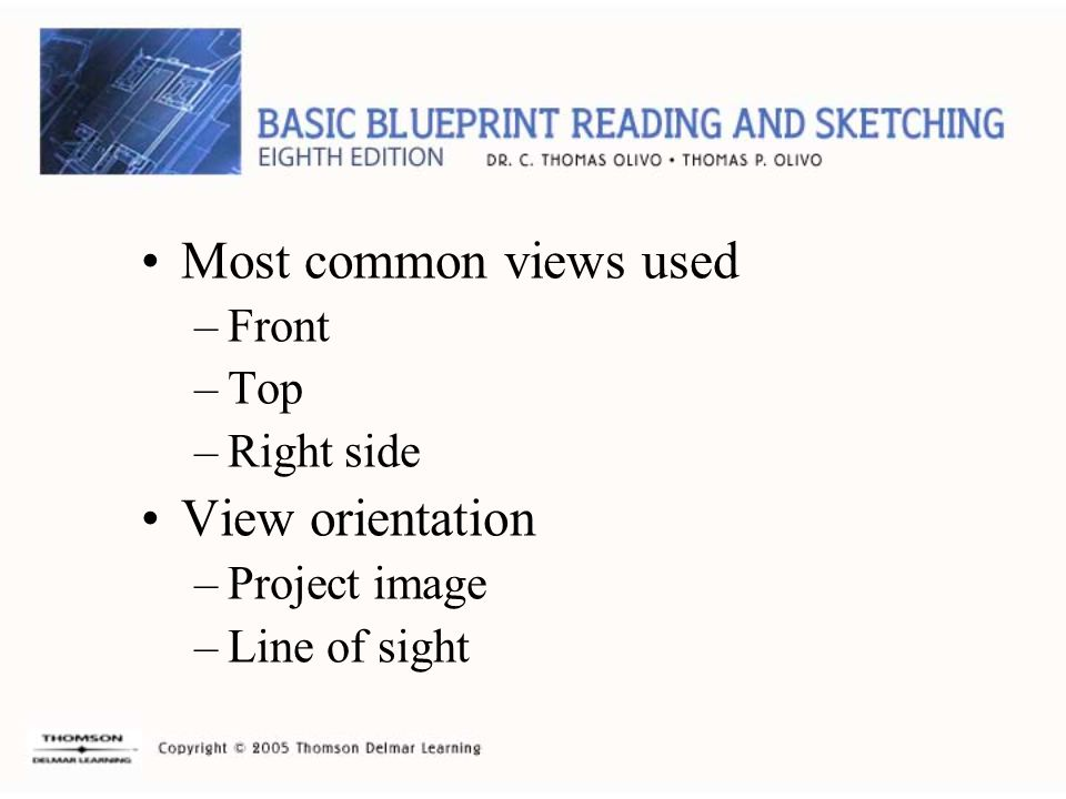 Most common views used View orientation Front Top Right side