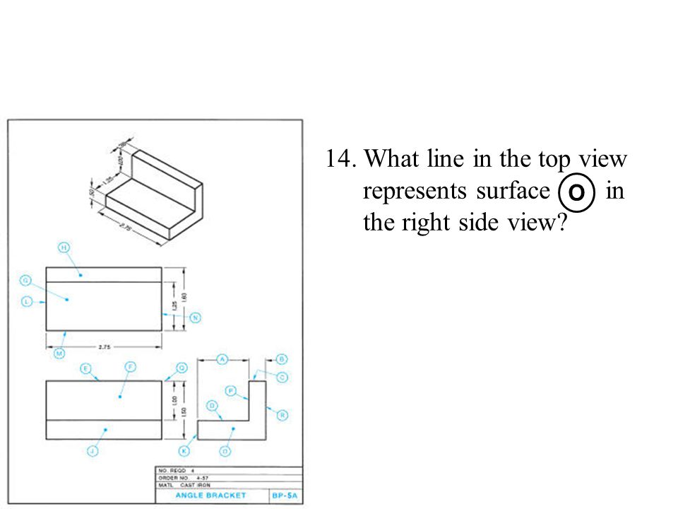 What line in the top view represents surface in the right side view