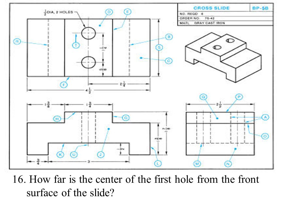How far is the center of the first hole from the front surface of the slide