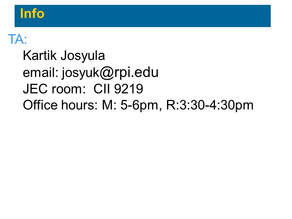 Info TA: Kartik Josyula. email: josyuk@rpi.edu.