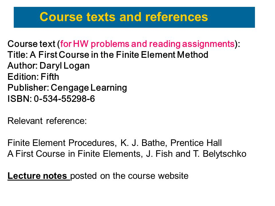 Course texts and references