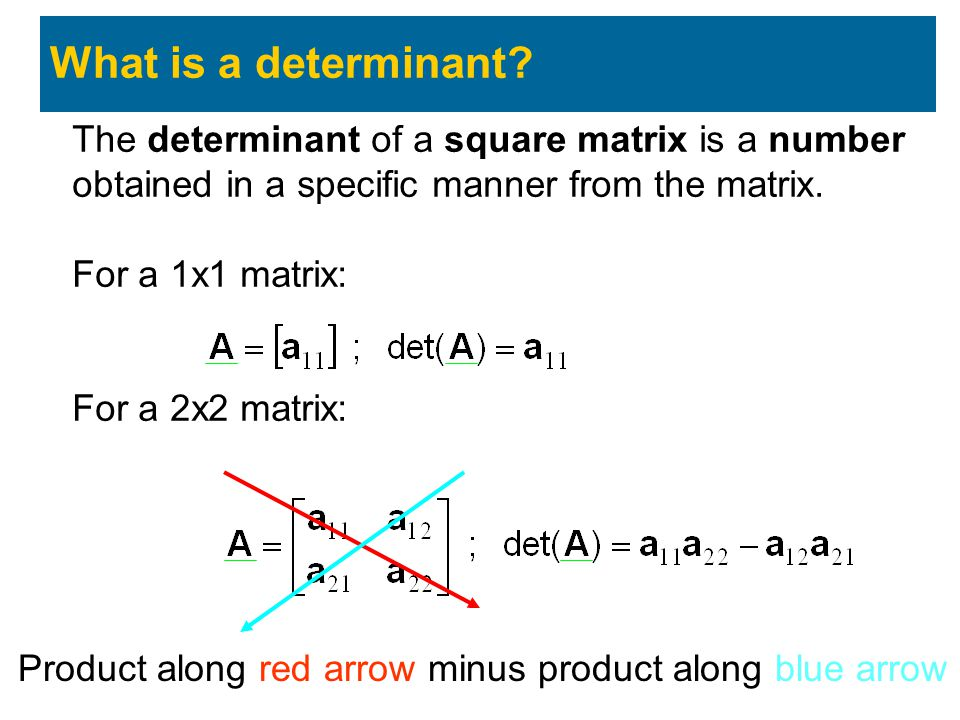 What is a determinant The determinant of a square matrix is a number