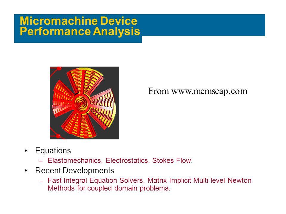 Micromachine Device Performance Analysis