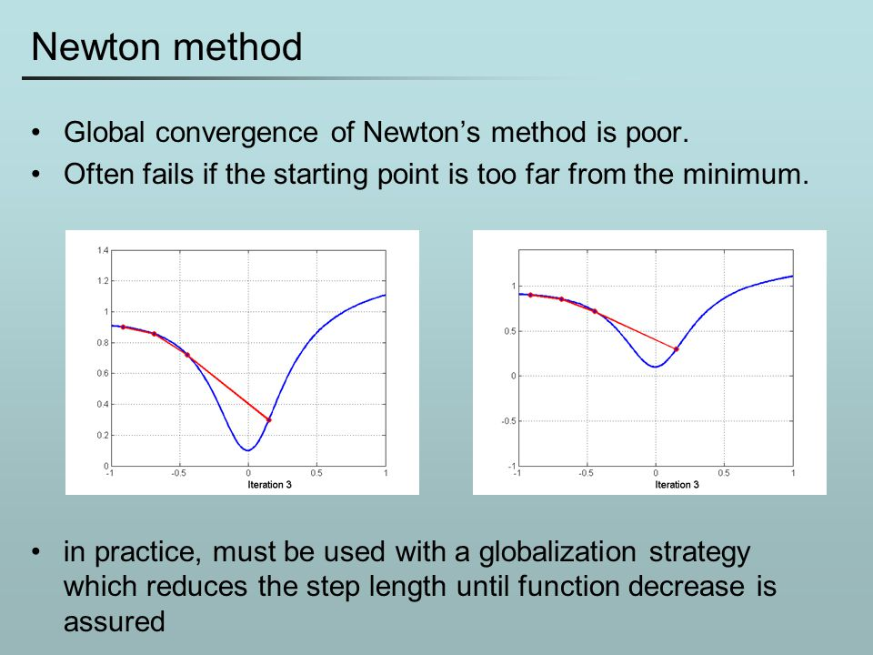 Newton method Global convergence of Newton's method is poor.