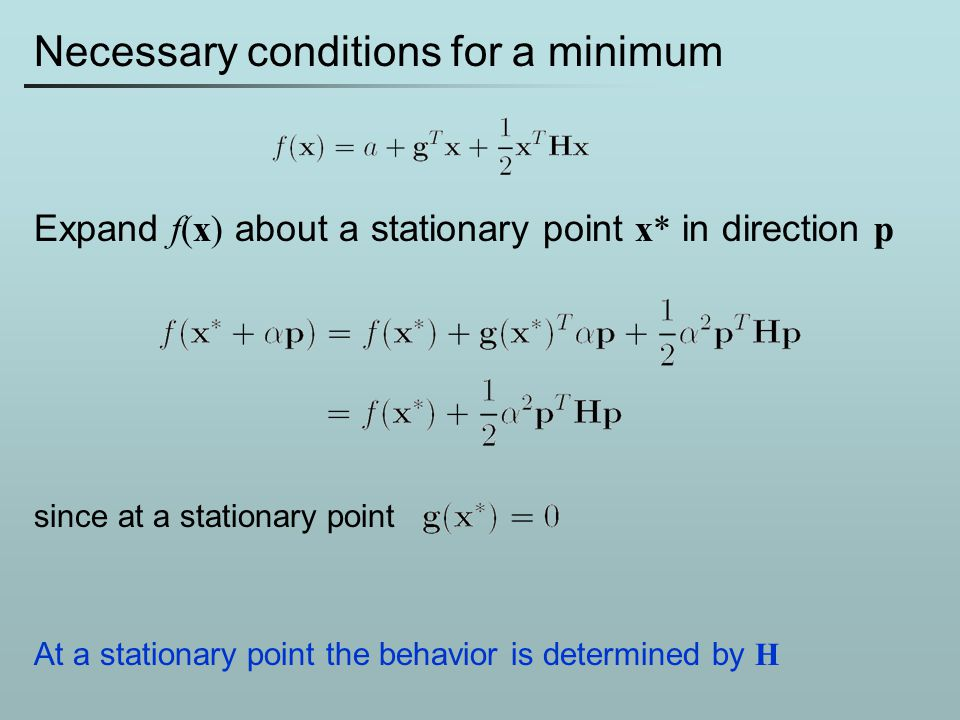 Necessary conditions for a minimum