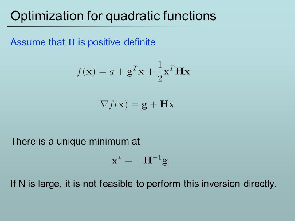 Optimization for quadratic functions