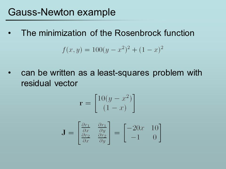 Gauss-Newton example The minimization of the Rosenbrock function