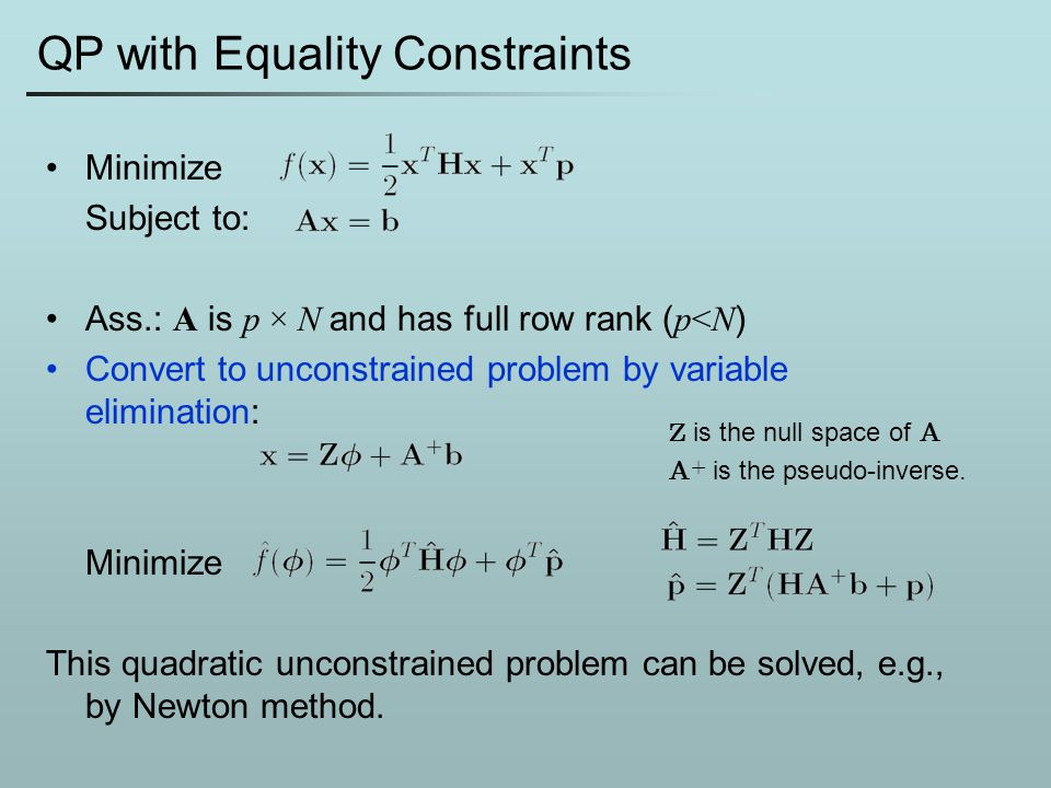 QP with Equality Constraints