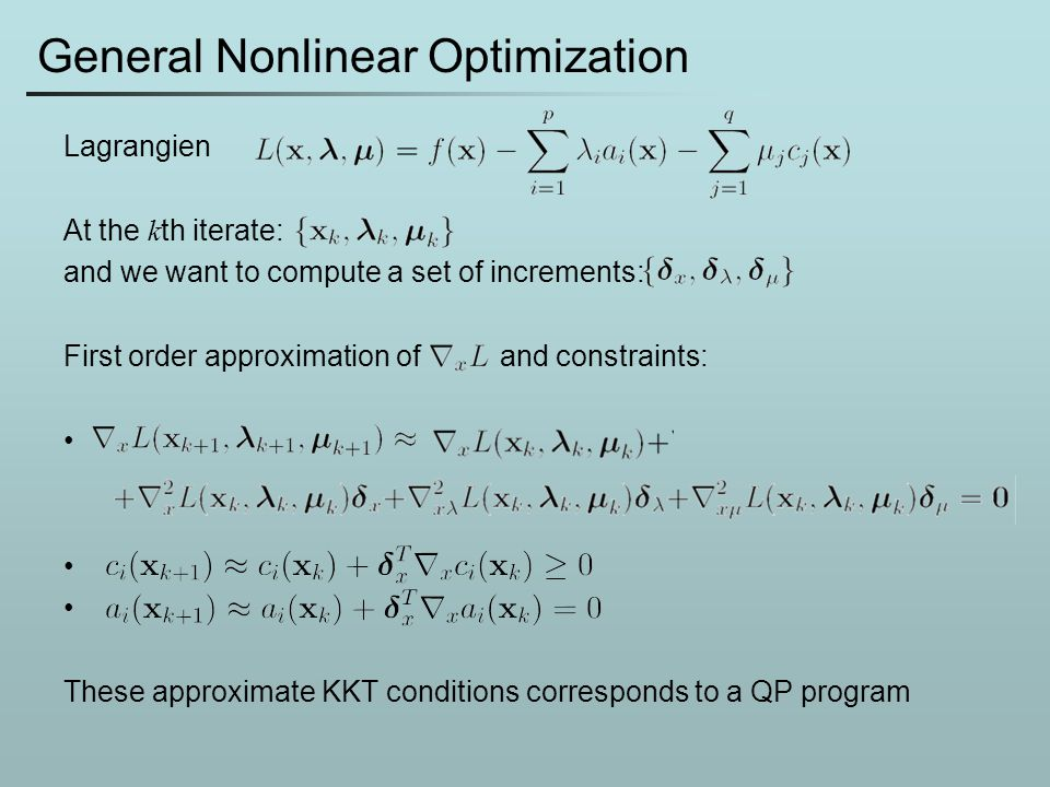 General Nonlinear Optimization