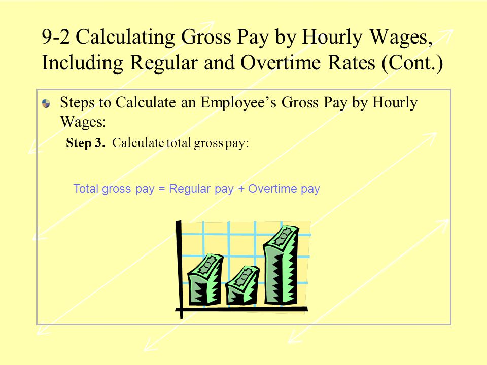 9-2 Calculating Gross Pay by Hourly Wages, Including Regular and Overtime Rates (Cont.)