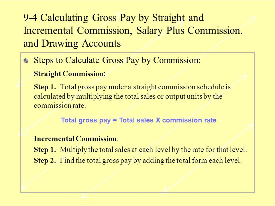 Total gross pay = Total sales X commission rate