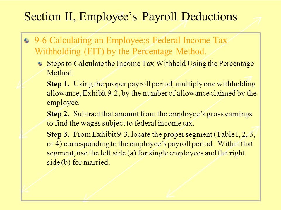 Section II, Employee's Payroll Deductions