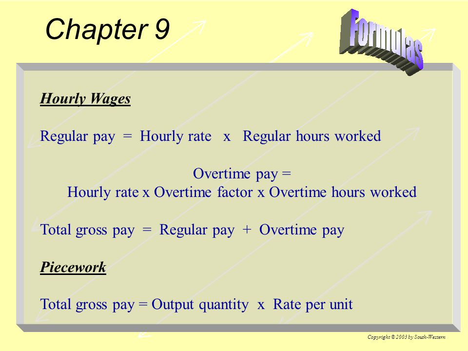 Hourly rate x Overtime factor x Overtime hours worked