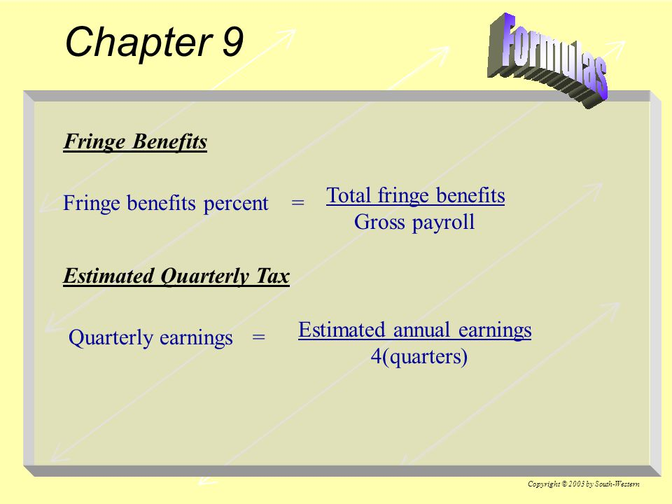 Chapter 9 Fringe Benefits Total fringe benefits Gross payroll