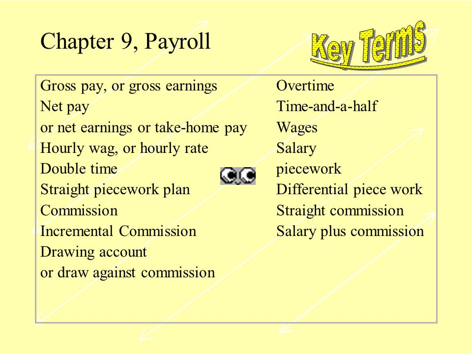 Chapter 9, Payroll Key Terms Gross pay, or gross earnings Overtime