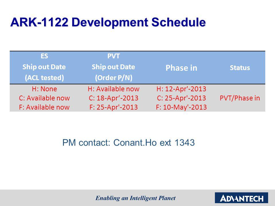 ARK-1122 Development Schedule