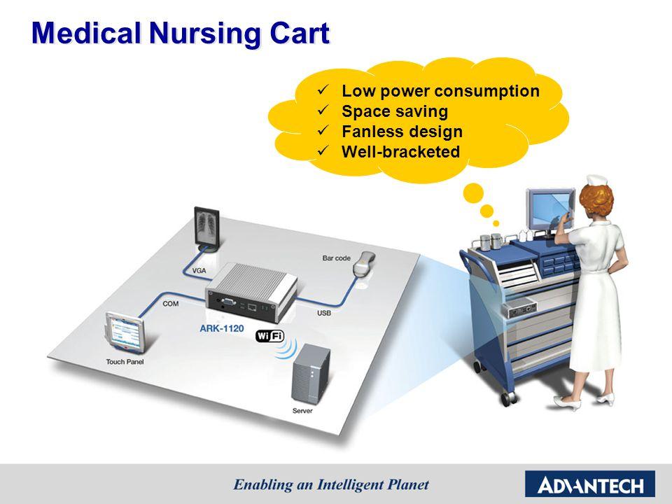 Medical Nursing Cart Low power consumption Space saving Fanless design