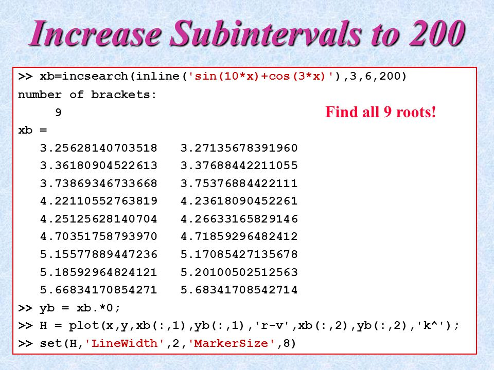 Increase Subintervals to 200