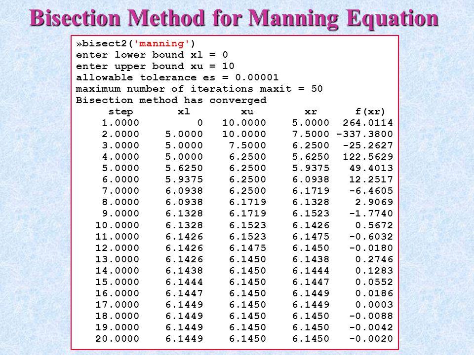 Bisection Method for Manning Equation